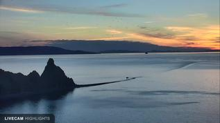 Round Island Cliff Cam, serene sunset