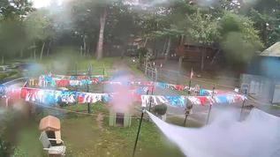 Raining hard.