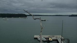 Pretty with the dark skies and the boats/perch